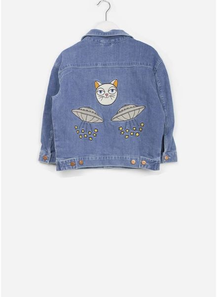 Mini Rodini space cat denim jacket blue