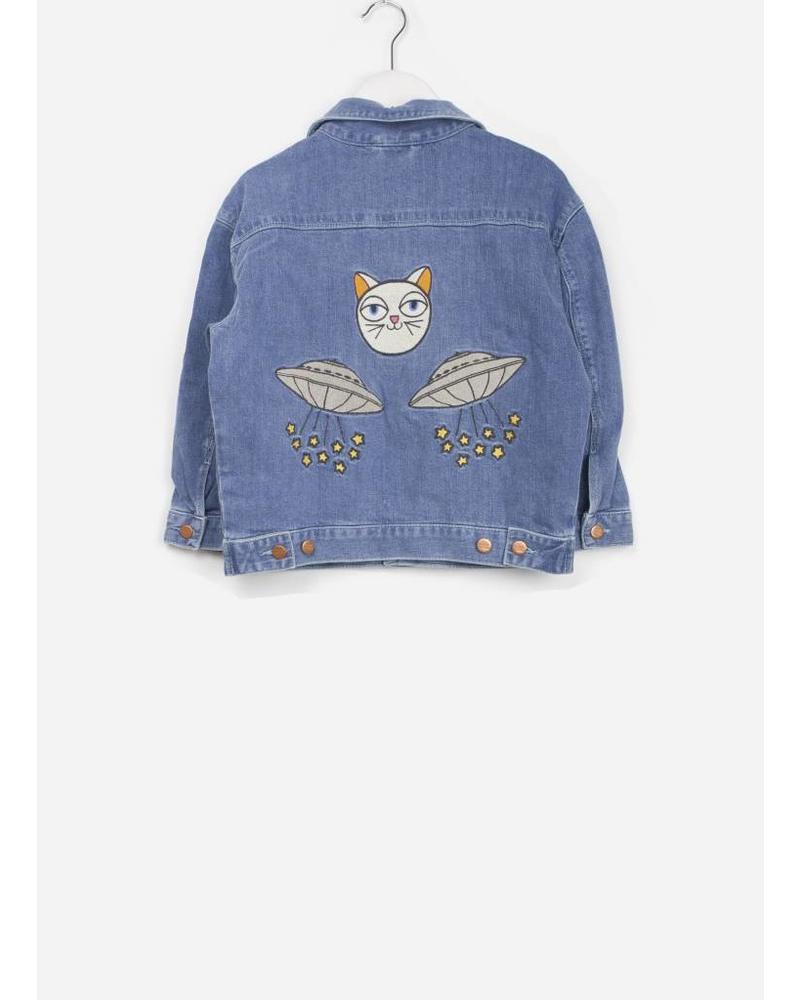 Mini Rodini space cat denim jacket blue