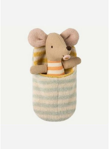 Maileg Mouse, baby in sleeping bag