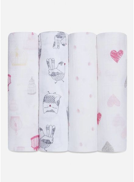 Aden and Anais swaddle roze wit