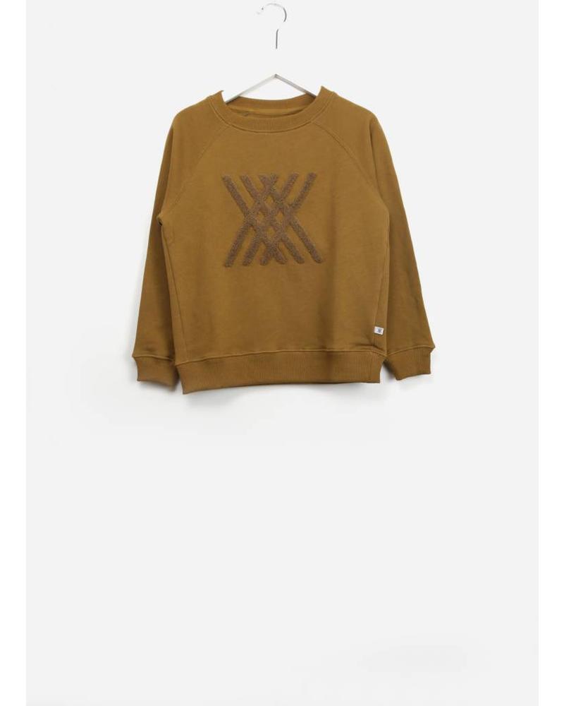 Repose classic sweater golden sun brown logo
