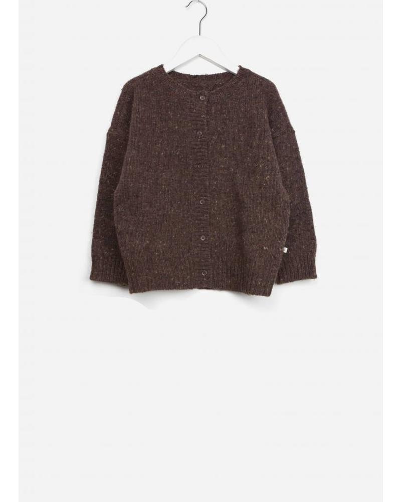 Repose knit cardigan round neck warm pecan