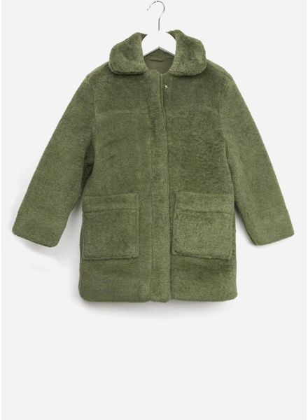 Repose jas faux fur dusty green