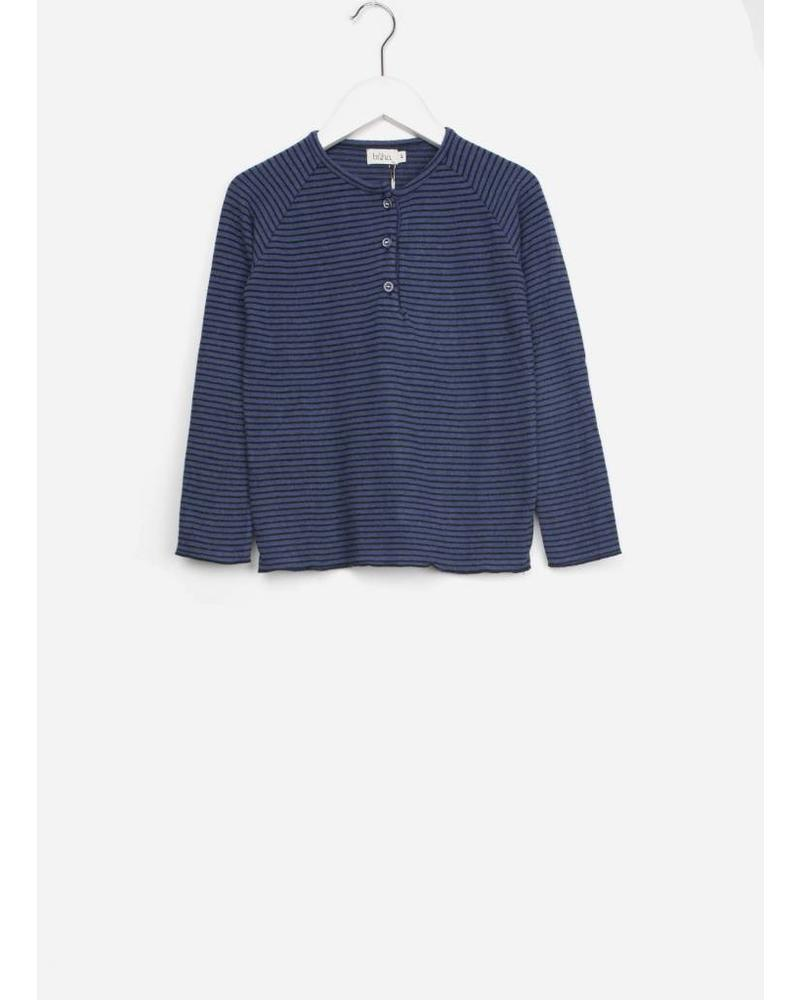 Buho leo stripes buttons pull mood indigo