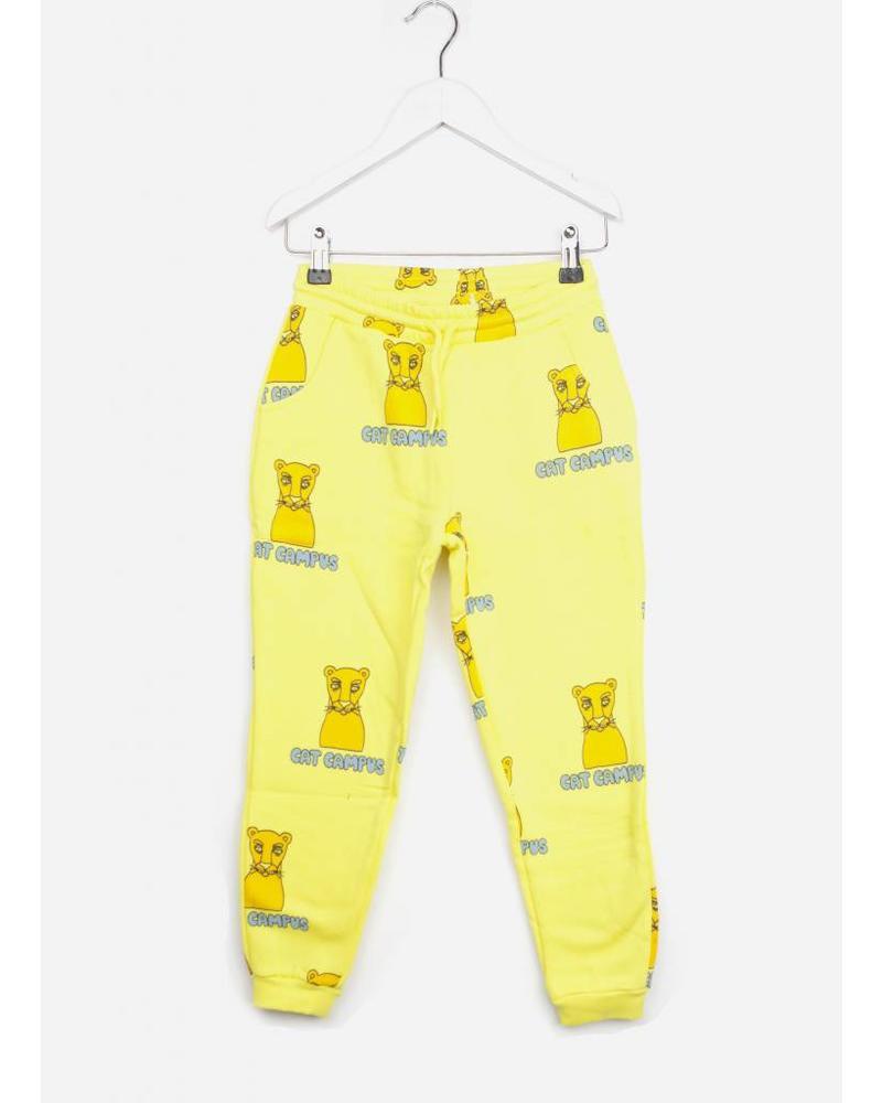 Mini Rodini cat campus sweatpants yellow