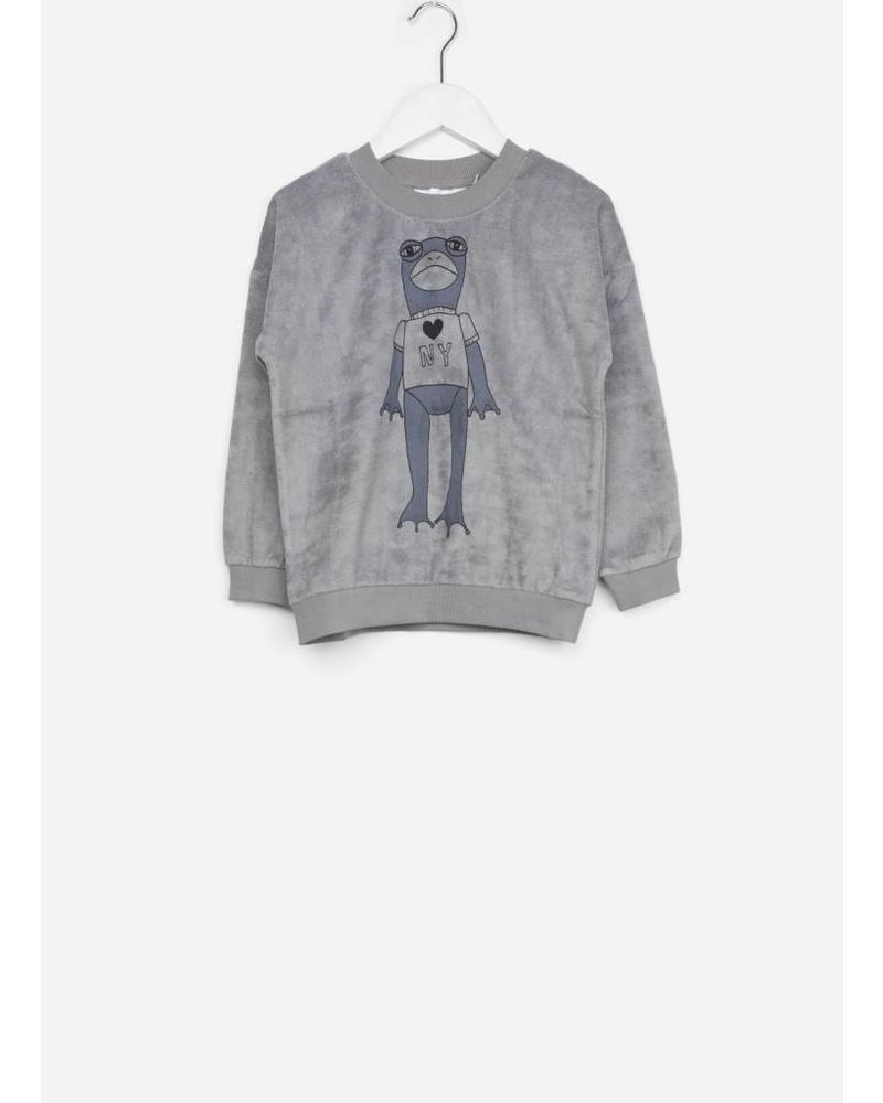 Mini Rodini frog terry sweatshirt grey