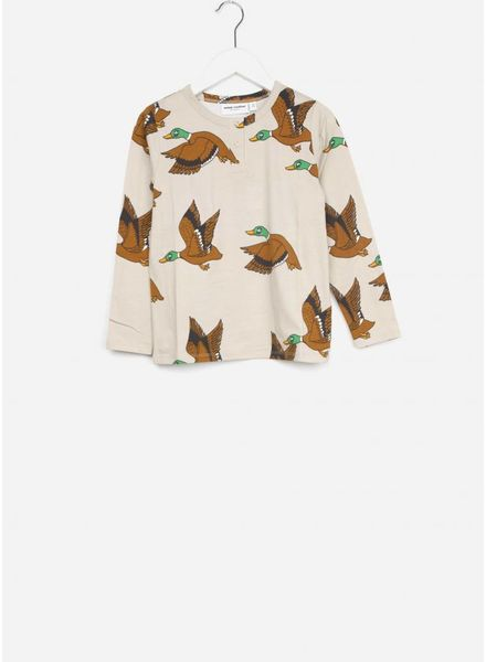 Mini Rodini shirt ducks grandpa beige