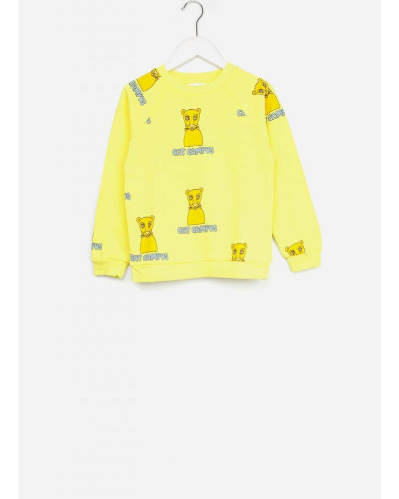 Mini Rodini cat campus sweatshirt yellow