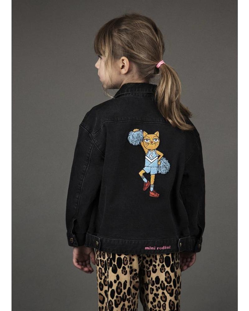 Mini Rodini cheer cat denim jacket black