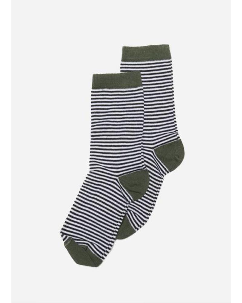 Mingo socks striped duck green and b/w stiped