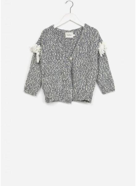 Buho vest ginger fringes grey