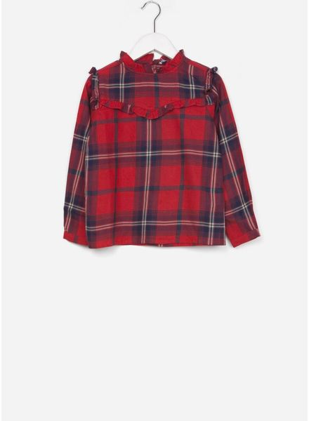 By Bar blouse valerie check bright red
