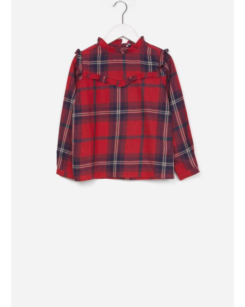 By Bar girls valerie check blouse bright red