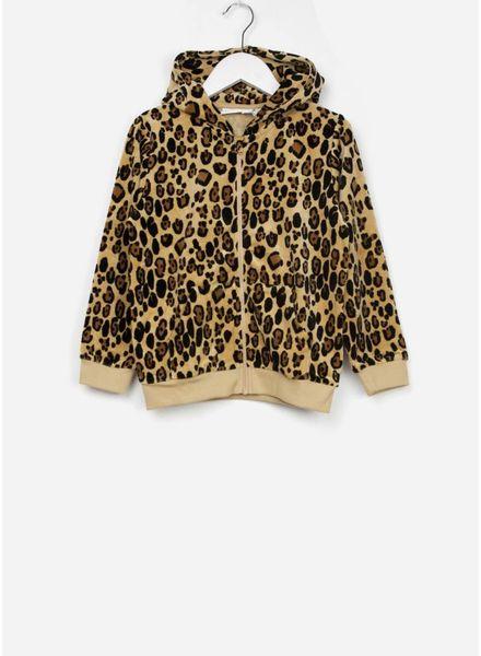 Mini Rodini vest leopard zip hoodie beige