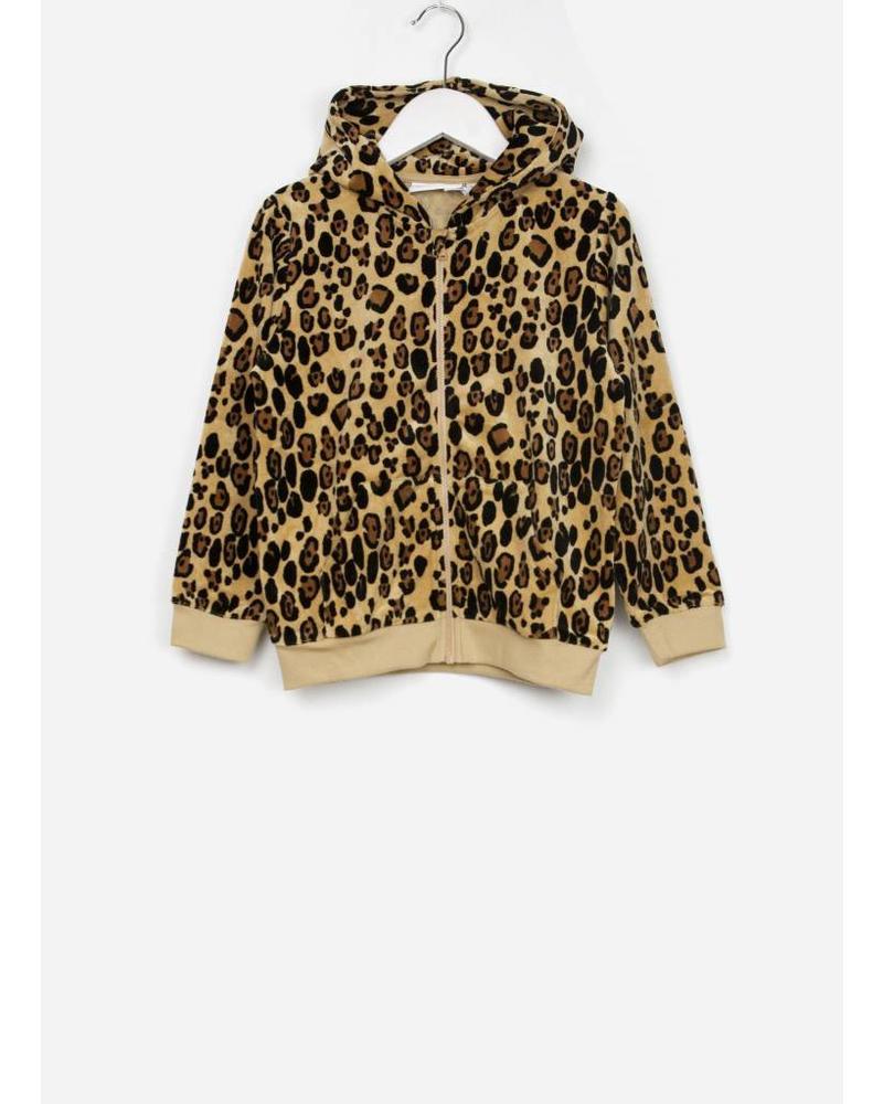 Mini Rodini leopard zip hoodie beige