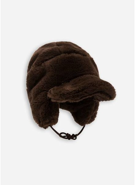 Mini Rodini muts faux fur cap brown