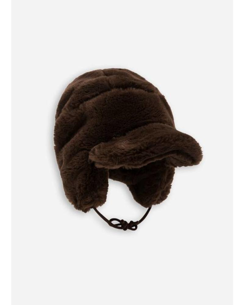Mini Rodini faux fur cap brown