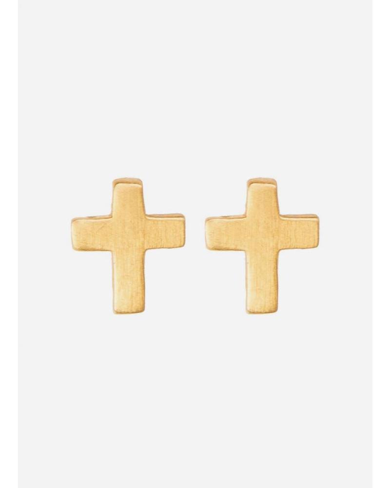 By Bar oorbel cross gold