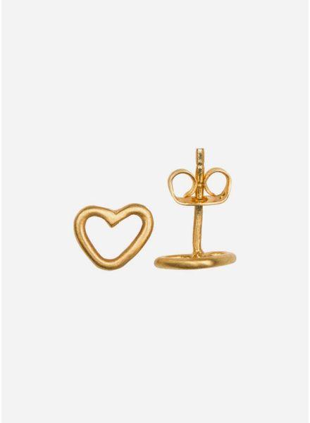 By Bar oorbel open heart gold