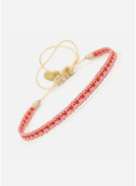 Guanabana armband roze met rode hartjes