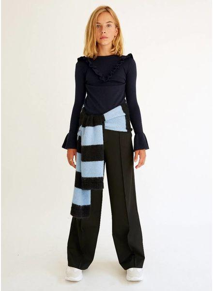 Les Coyotes De Paris sjaal powder blue black stripe