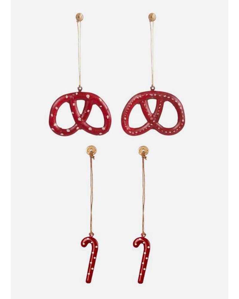 Maileg ornament pretzel sugarcane metal 4ass