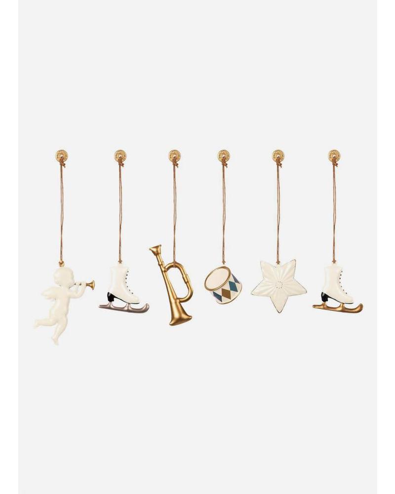 Maileg ornaments in a box antracite-gold
