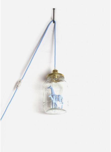 La Tete Le Bocal grote lamp giraf met baby licht blauw