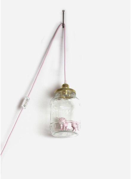 La Tete Le Bocal grote lamp eenhoorn met baby licht roze
