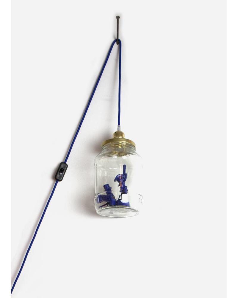 La Tete Le Bocal grote lamp bandieten donker blauw