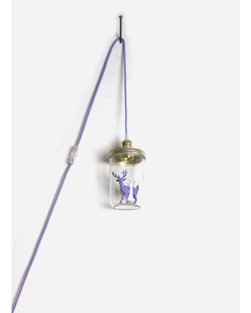 La Tete Le Bocal lamp hert met gewei paars