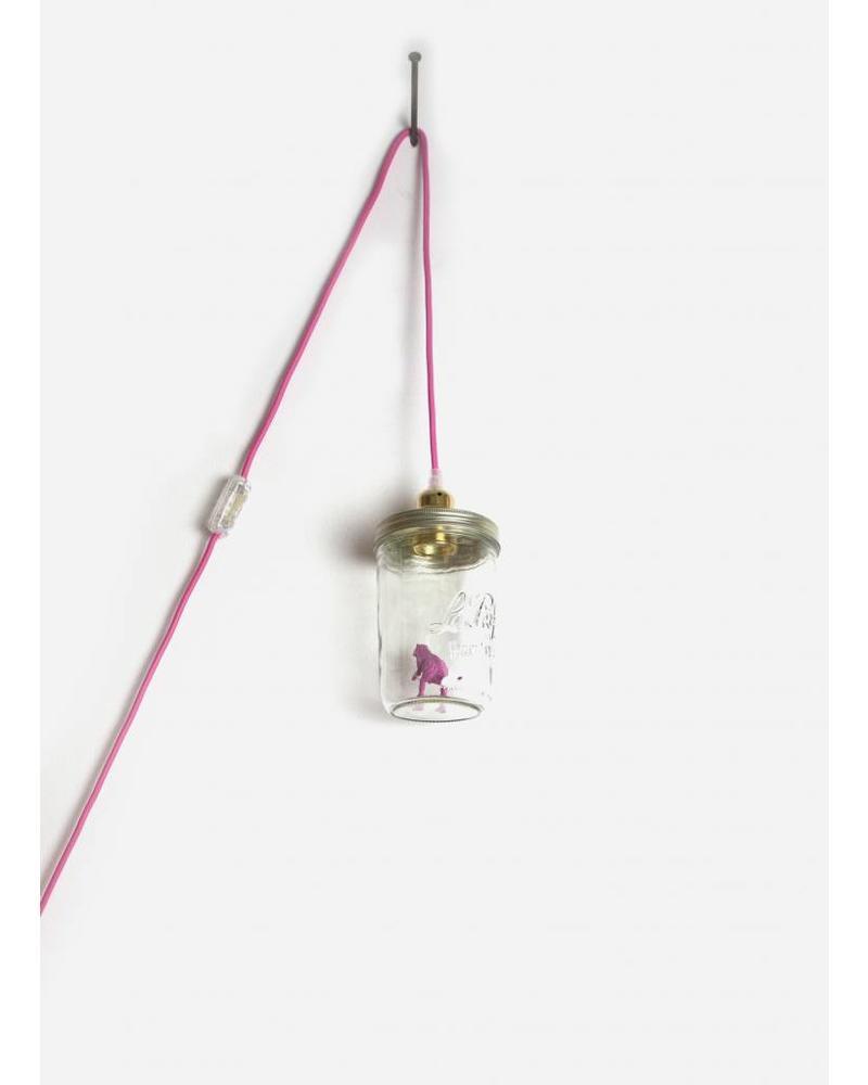La Tete Le Bocal lamp dinosaurus donker roze