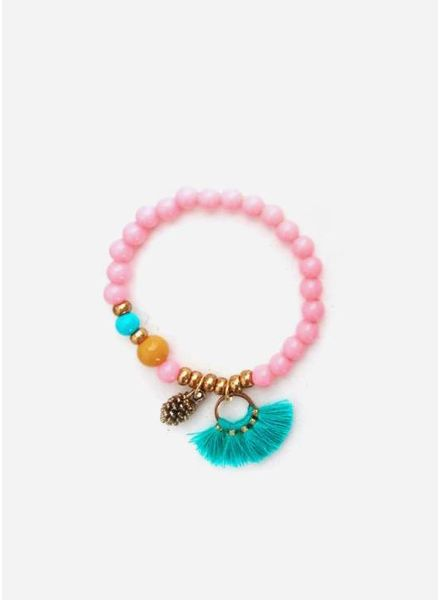ByMelo armband roze dennenappel