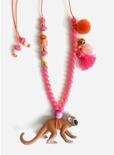 ByMelo ketting aap roze