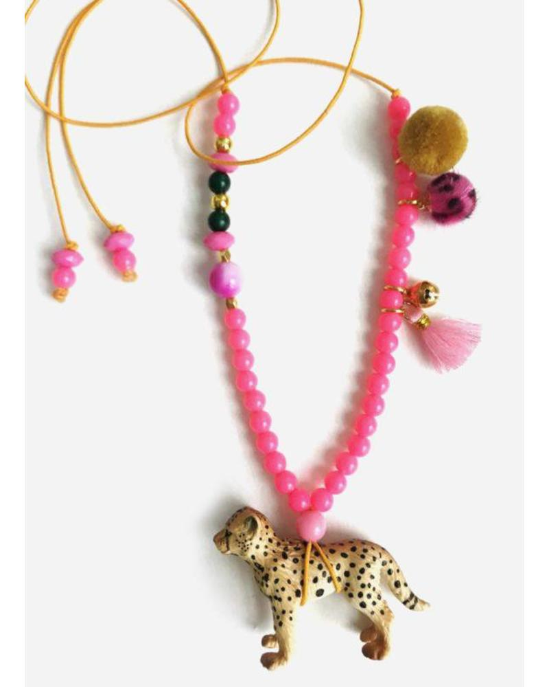 ByMelo ketting luipaard roze