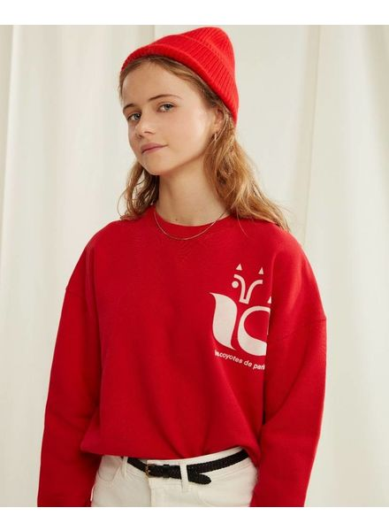 Les Coyotes De Paris moto sweater bright red