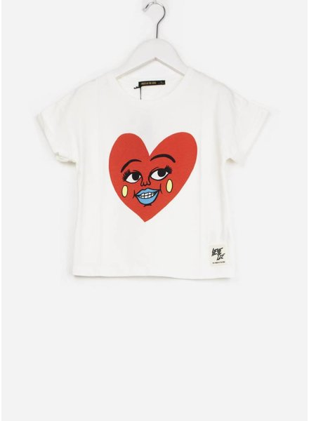 Finger in the nose shirt britney ecru heart short sleeves