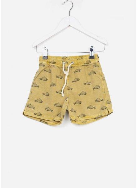 Buho zwembroek hansel fish boy swimsuit moutarde