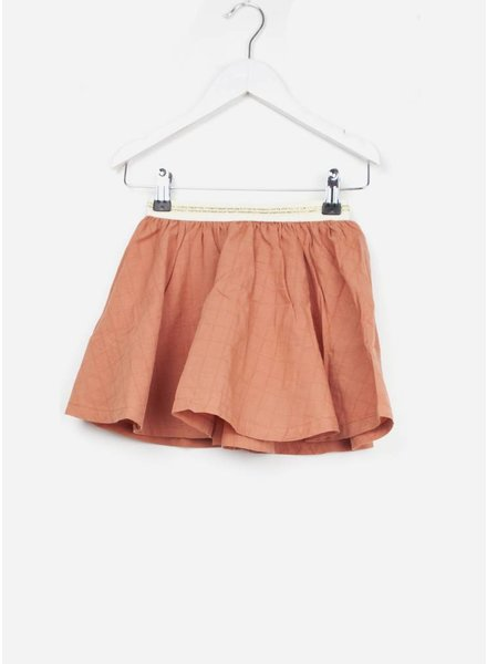 Buho rok bambi voile check girl skirt terracota