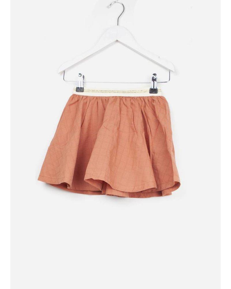 Buho bambi voile check girl skirt terracota