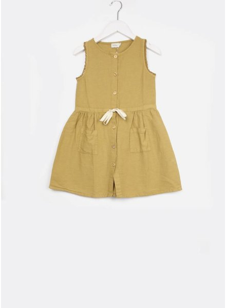 Buho jurk andrea front buttoned dress moutarde