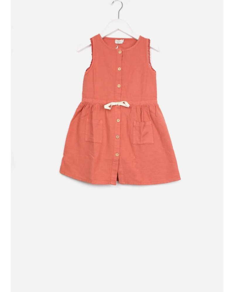 Buho andrea front buttoned girl dress terracota