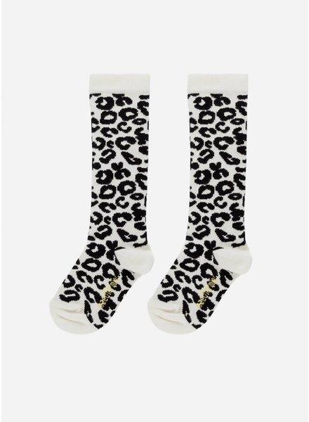 Maed for mini white leopard knee socks