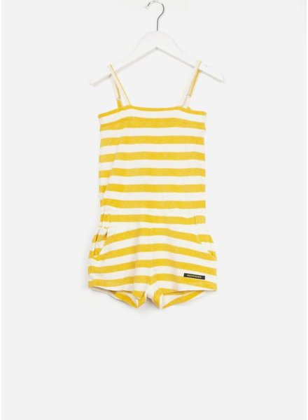 Finger in the nose onepiece mandarin stripes short overall