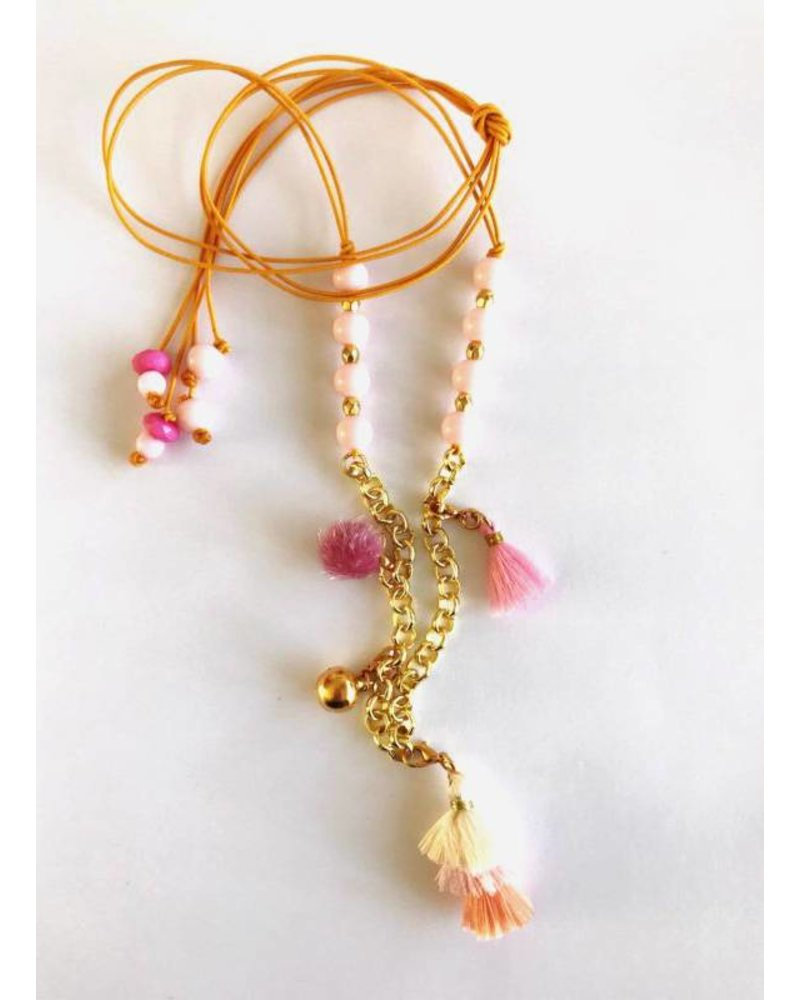 ByMelo ketting goud roze