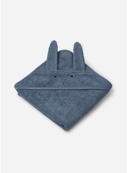 Liewood albert hooded towel rabbit blue wave