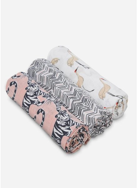 Aden and Anais swaddle zwart roze