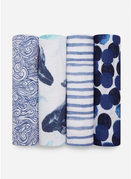 Aden and Anais swaddle blauw wit
