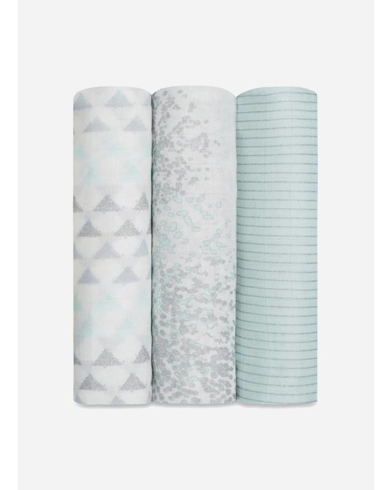 Aden and Anais swaddle mint zilver