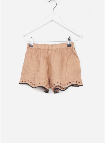 Buho short leila linen embroidery old rose